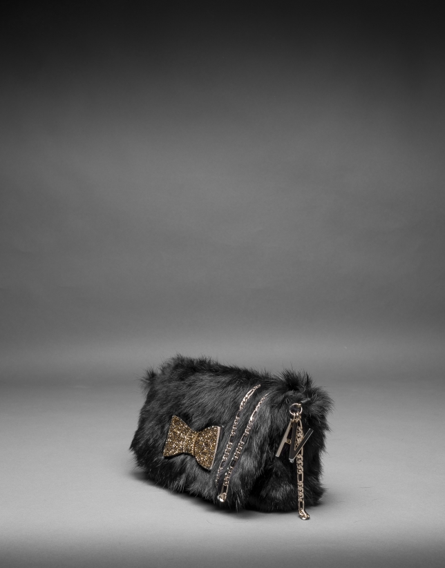 Black rabbit fur Poppy bag with an old gold crystal bow