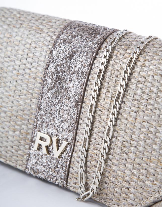 Poppy Rustic : sac raphia métallisé doré