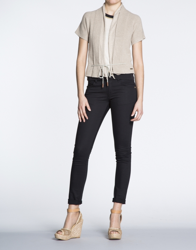 Beige cotton short sleeve jacket
