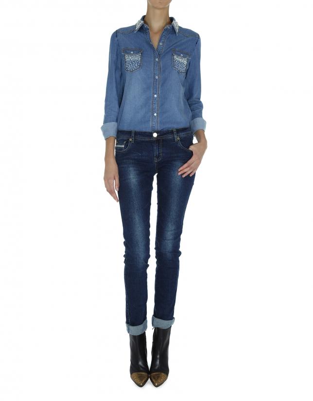 Chemise en jean avec détails de perles
