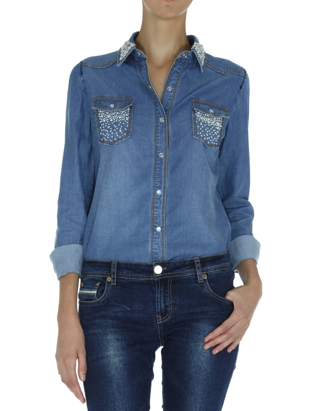 Jeans shirt with pearl appliqués