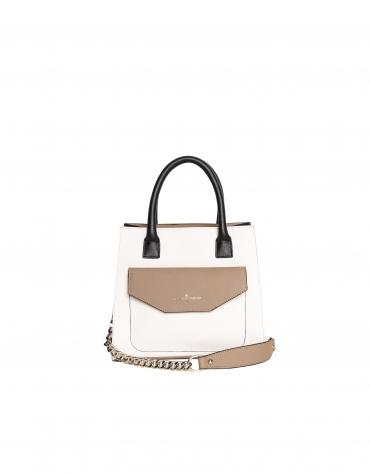 Color block leather satchel bag
