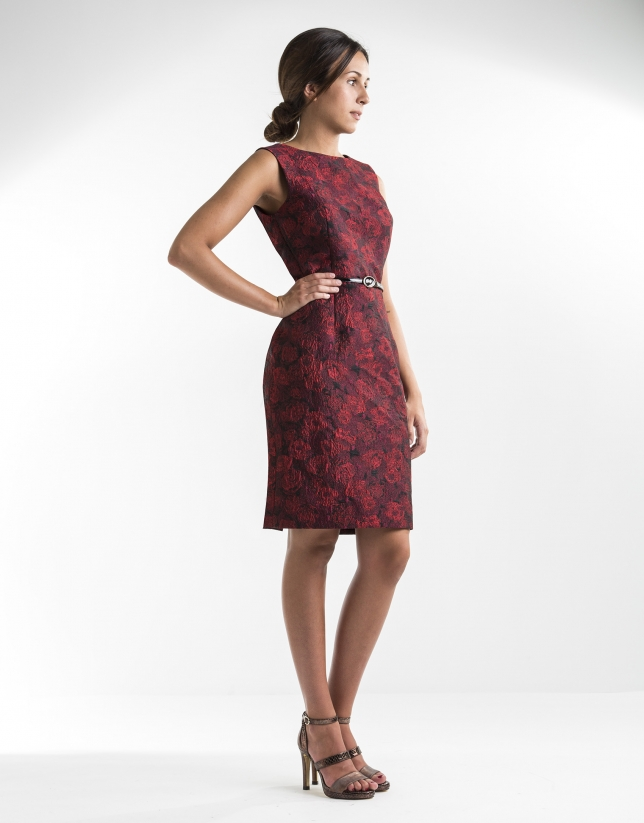 Red jacquard straight dress