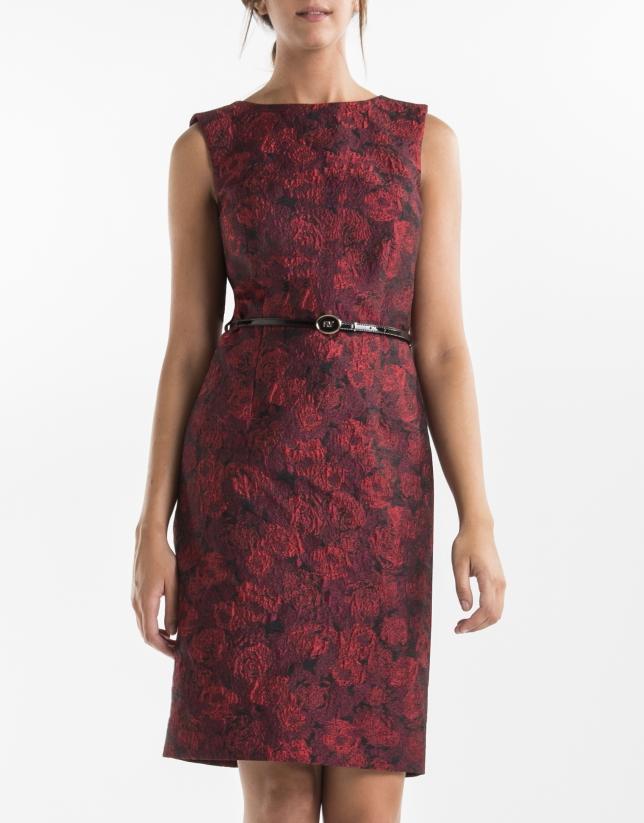 Vestido recto jacquard rojo