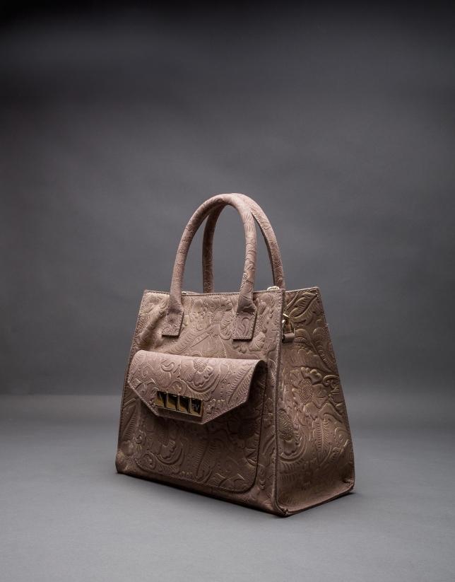 Leather Rocío Barroco bag with metallic brocade