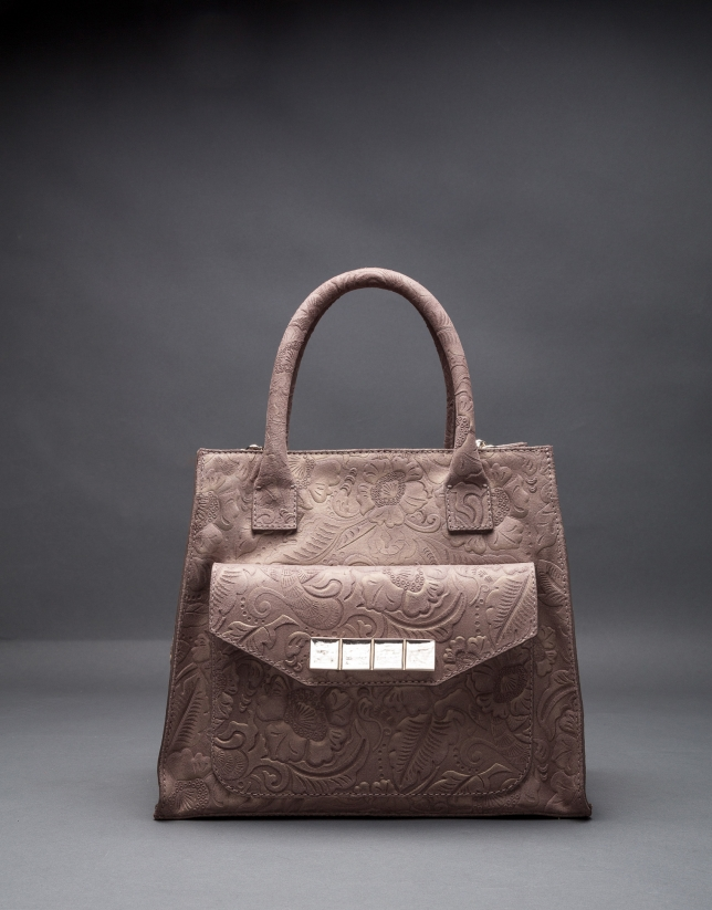 Leather Rocío Barroco bag with metallic brocade