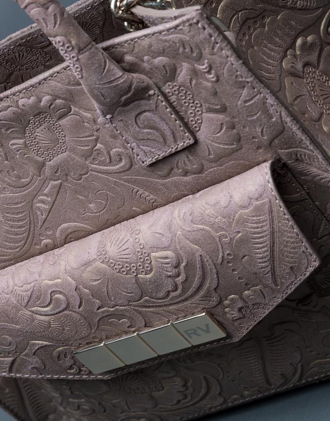 Satchel Rocío Baroque cuir gris taupe Brocart métallisé