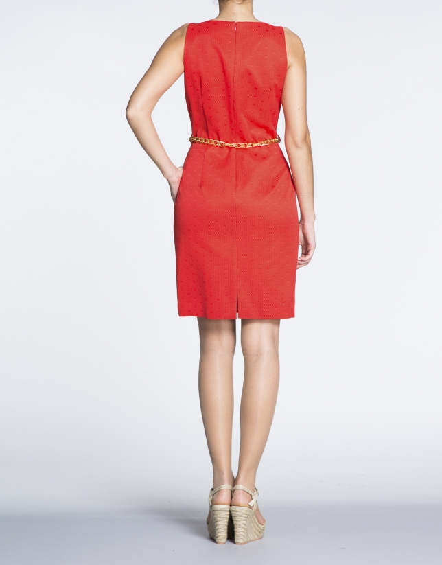 Geranium red cloqué knit straight dress