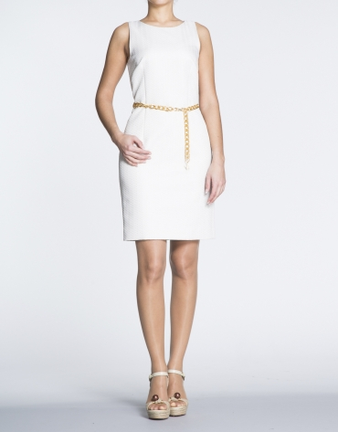White herringbone straight cloqué dress