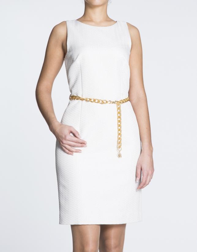 White herringbone straight cloqué dress