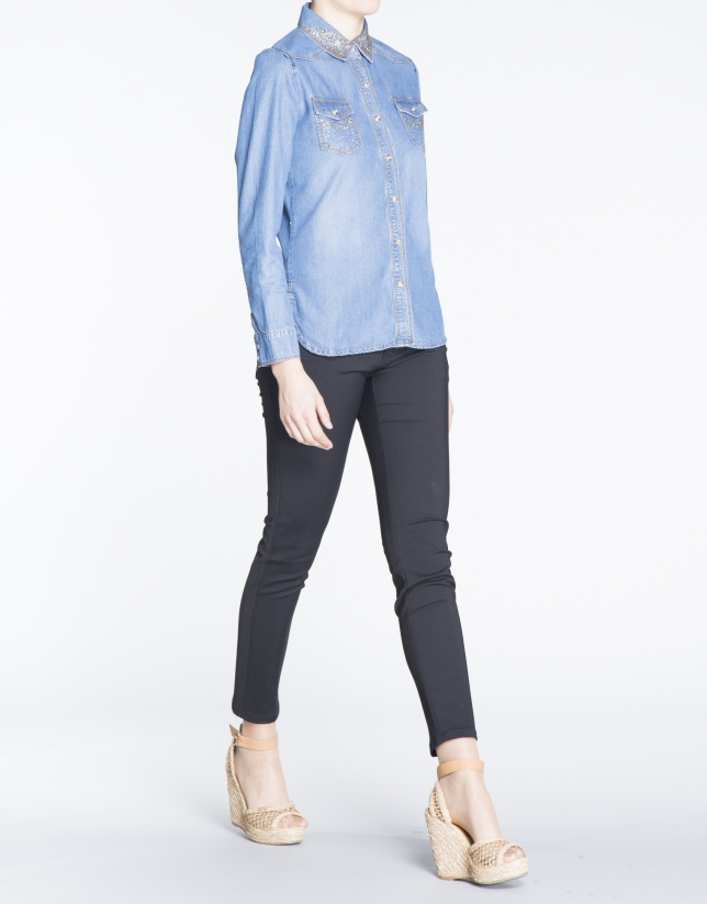 Long-sleeve rhinestone jean shirt