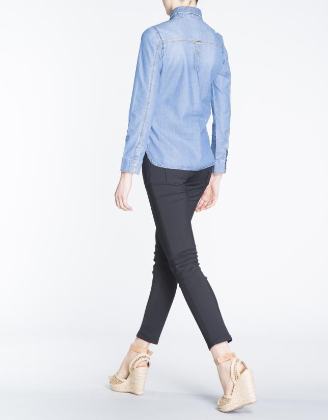 Long-sleeve rhinestone jean shirt