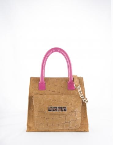 Rocío Copacabana : sac satchel couleur camel avec anses fuschia