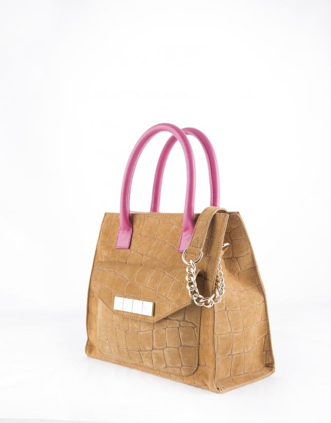 Camel Rocío Copacabana satchel with fuchsia handles