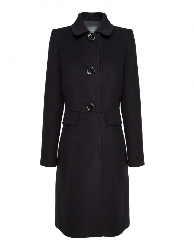 Abrigo lana y cashemire negro