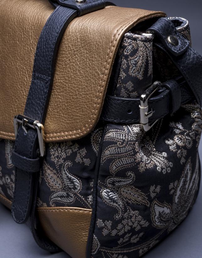 Bolso Fayna Brocado en piel dorada y tejido barroco