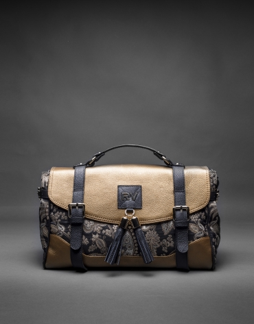 Fayna Brocado bag with gilded leather and Baroque fabric