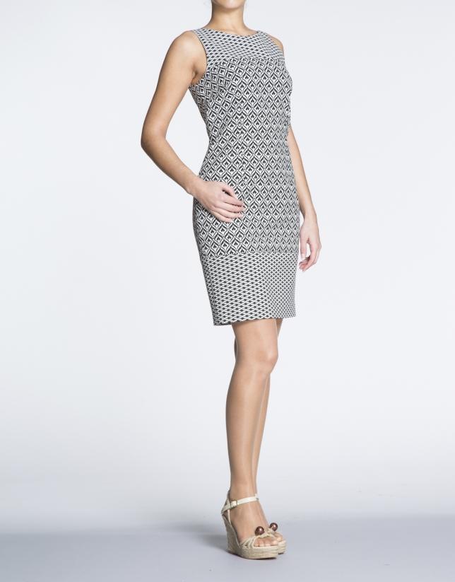Black and white geometric print straight dress