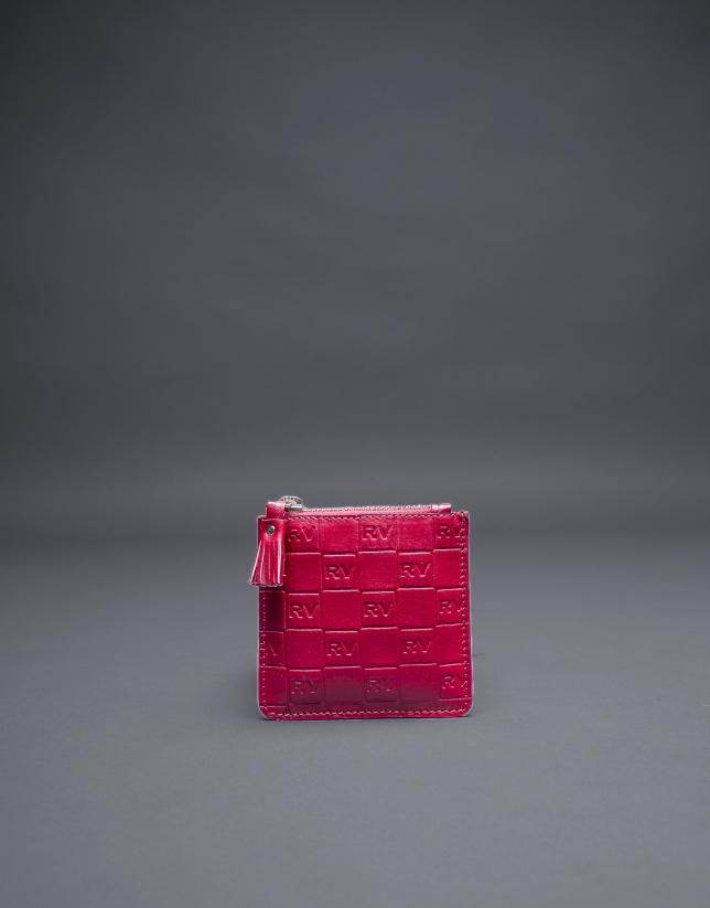Porte-monnaie rouge cuir gravure RV