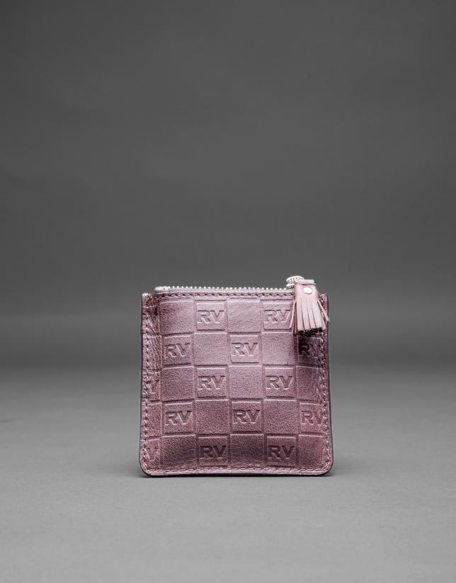 Porte-monnaie marron cuir gravure RV