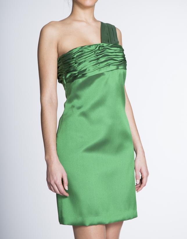 Green asymmetric draped dress