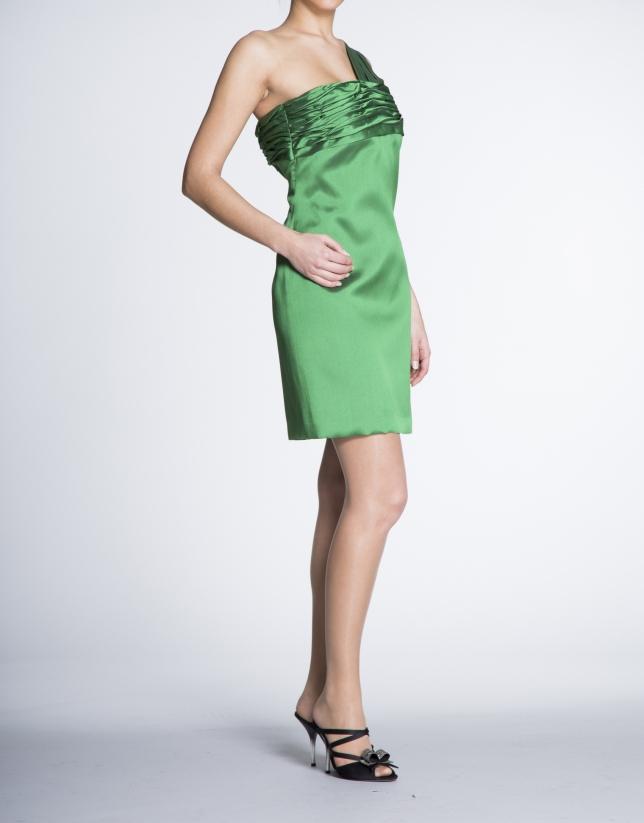 Vestido asimétrico drapeado verde.