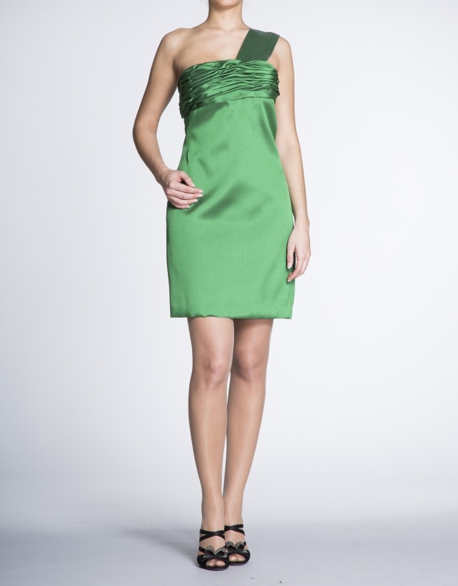 Green asymmetric draped dress