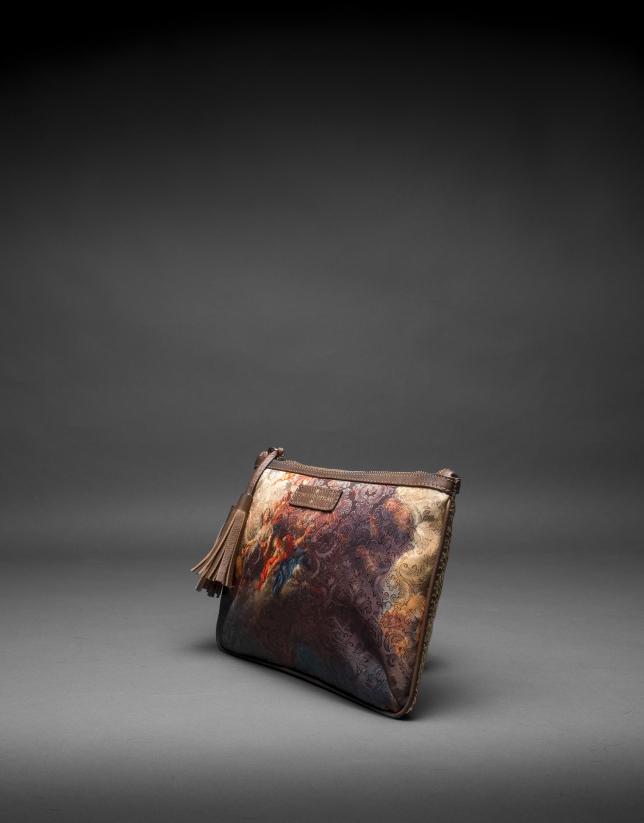 Bolso Zoe Vinci en tejido estampado y corcho laminado oro
