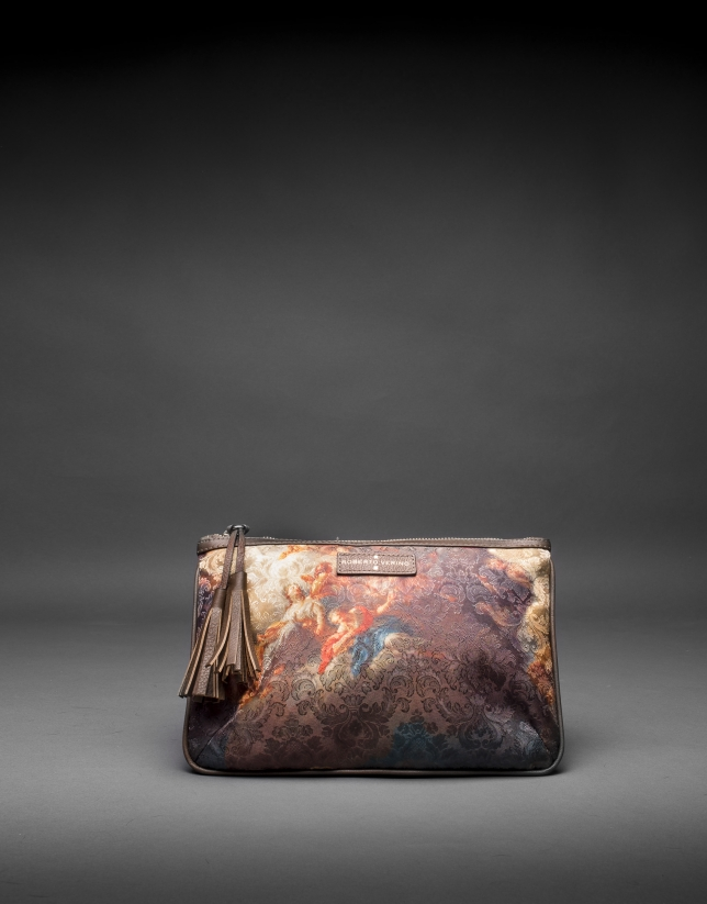 Zoe Vinci bag with print fabric and laminated gold cork