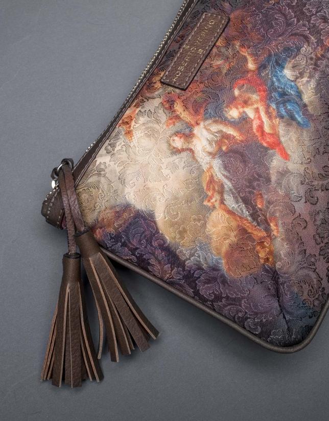 Clutch Zoe Vinci tissu à motifs et liège laminé or