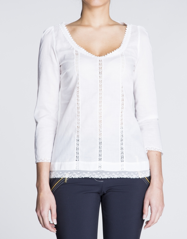 White batiste and lace blouse