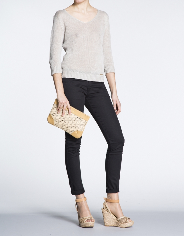 Taupe Zoe Mix clutch bag