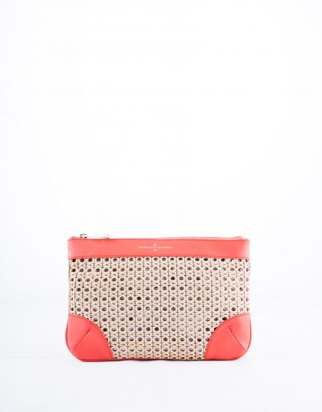 Zoe Mix : clutch couleur corail