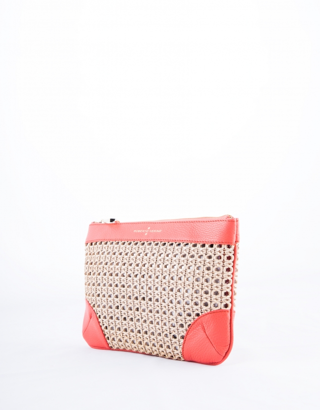 Zoe Mix : clutch couleur corail