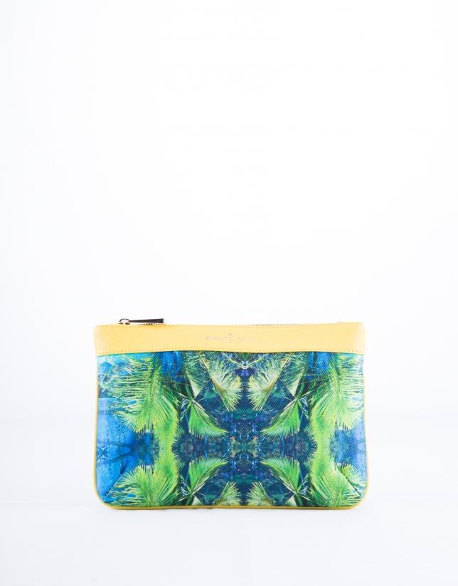 Bolso Clutch Zoe Miami tejido estampado tropical y piel amarilla