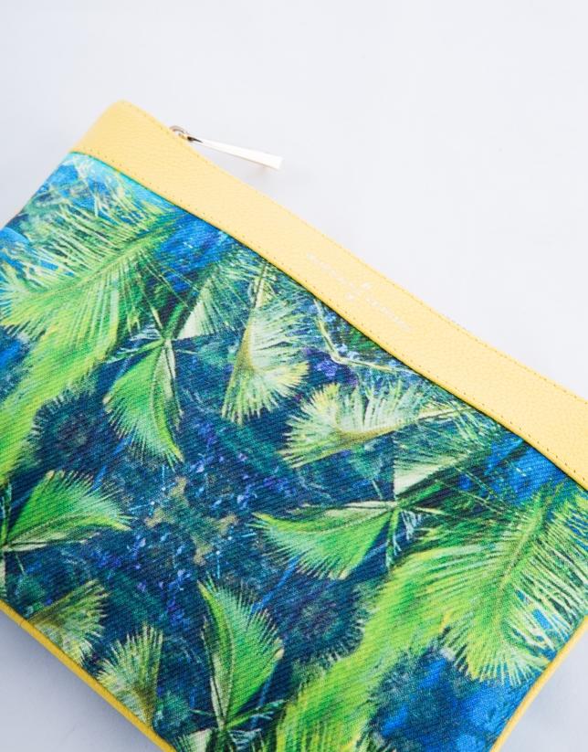 Zoe Miami : clutch en cuir vachette jaune, motif tropical en tissu