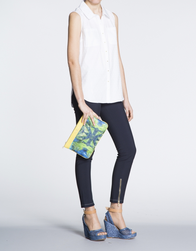 Yellow leather and tropical print fabric  Zoe Miami clutch bag