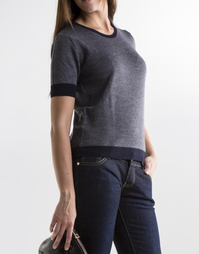 Blue short sleeve sweater