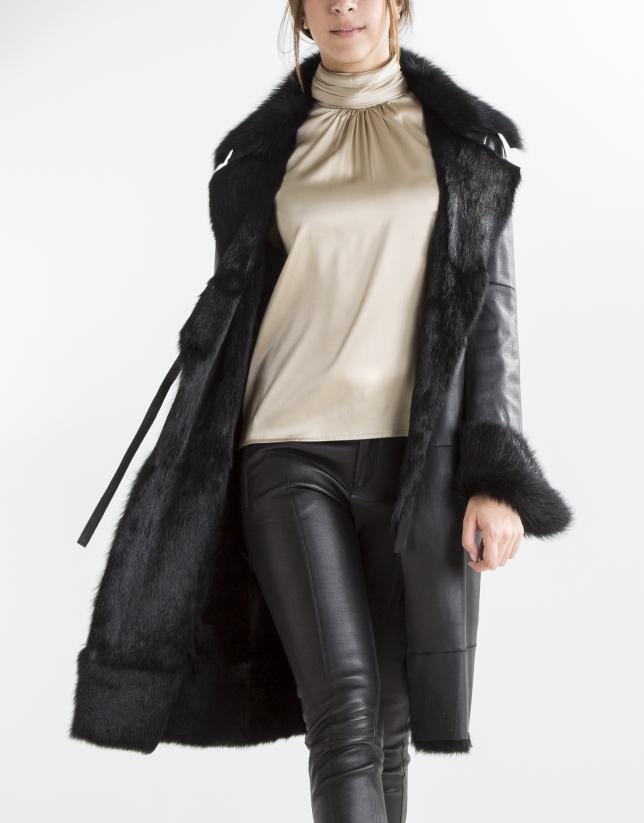 Black nappa and rabbit reversible coat