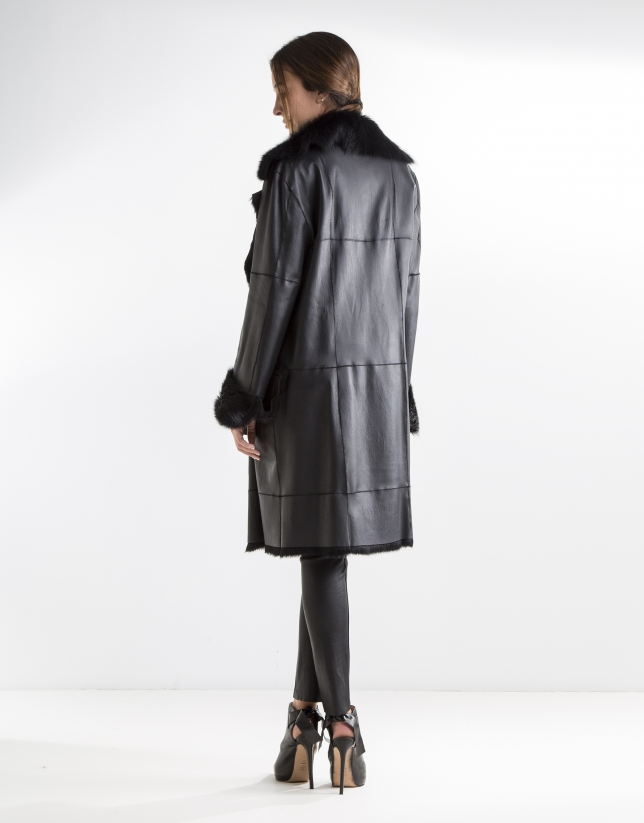 Black nappa and rabbit reversible coat
