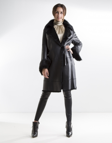 Black nappa and rabbit coat