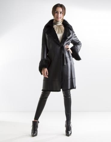 Black nappa and rabbit coat