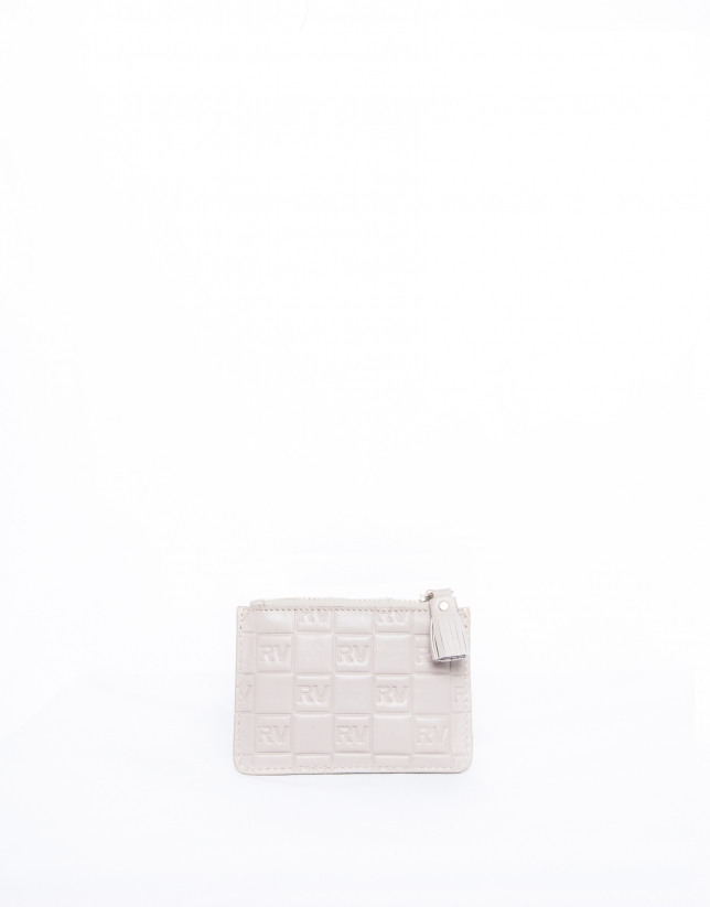 Nude leather change purse with embossed logo