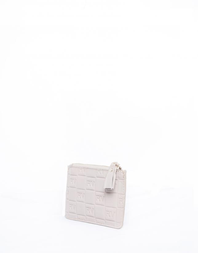 Porte-monnaie en cuir vachette, couleur nude, gravure RV