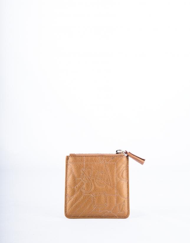 Porte-monnaie VIP en cuir vachette, couleur bronze, gravure RV
