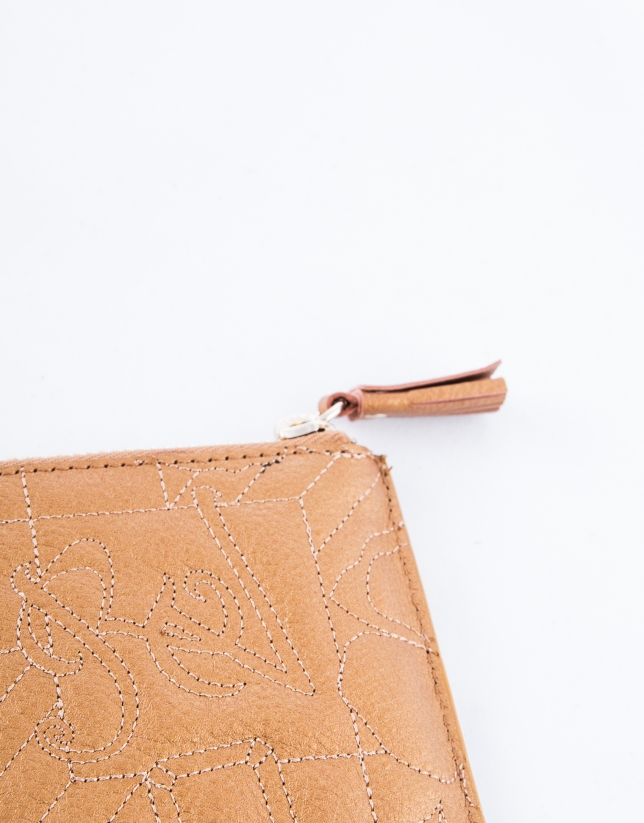 Bronze leather VIP change purse with embroidered logo