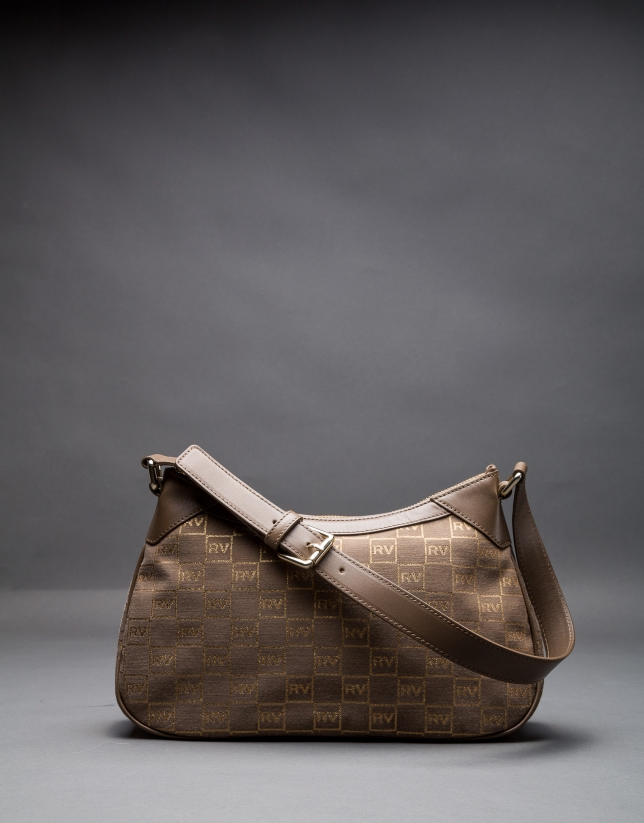 Josefina bag, jacquard, cowhide and gilded lurex with RV  logo