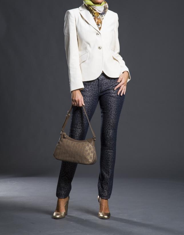 Sac bandoulière Josefina Jacquard RV gris taupe avec lurex or et cuir vachette