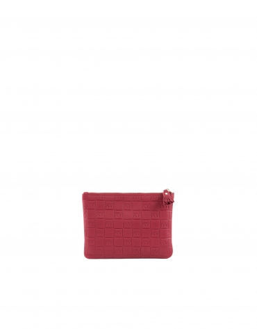 Red leather vanity case.