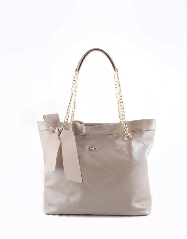 Pearl leather Ariadna shopping bag
